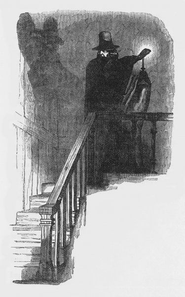 THE HAUNTED MAN the unhappy 'haunted man' of the title at the top of a staircase Date: First published: 1848