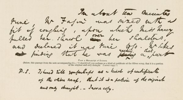 An extract from a manuscript of Dickens