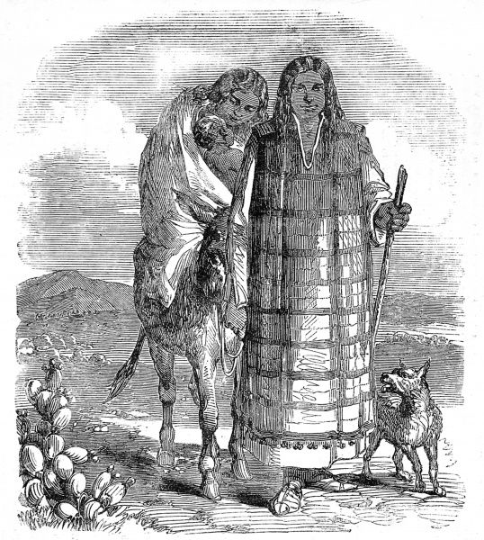 Illustration showing a family of Diegeno native American Indians travelling through a desert landscape in the far West of the USA, c.1858