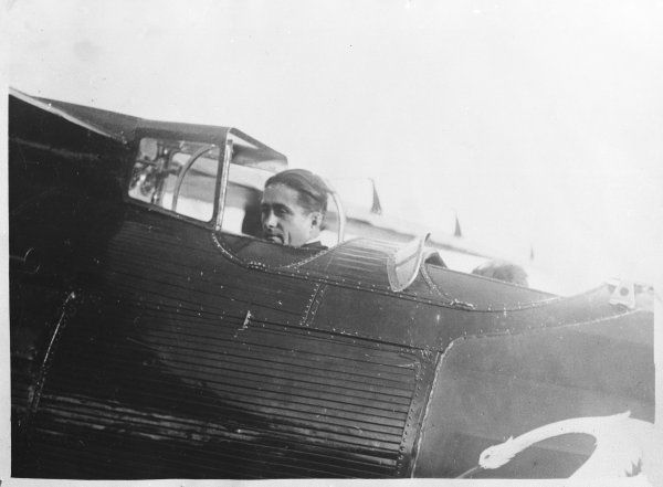 French aviator Dieudonne Costes (1892 - 1973), the first person to make a non- stop flight from Paris to New York, with his companion Maurice Bellonte, in 1930