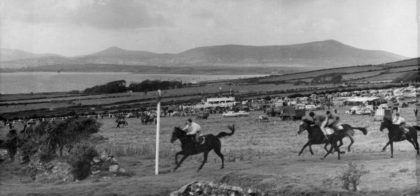 The harbour and mountains make a lovely backdrop to the horse racing at Dingle racecourse, County Kerry, Ireland. Date: 1962