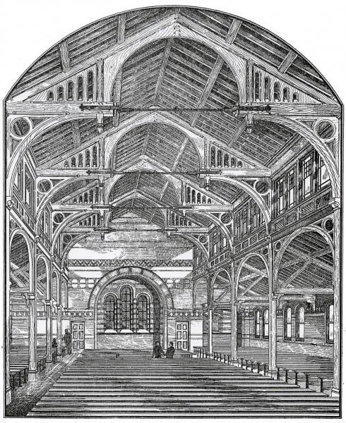 The dining hall of the new Holborn Union workhouse at Merton Lane, Mitcham, Surrey, opened in October 1886. The workhouse, which could house 1000 inmates, was designed by Henry Saxon Snell and his son Alfred