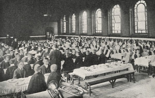 View of the Dining Hall at the Lambeth Schools for workhouse children on Elder Road, West Norwood, South London, with boys and girls segregated at separate tables
