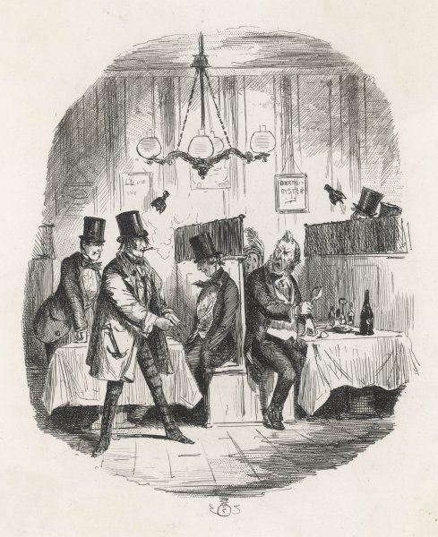 An insolent young man smoking a cigar, puts on his gloves as he makes a parting comment to an affronted older gentleman who is stopped in the act of smashing open an oyster