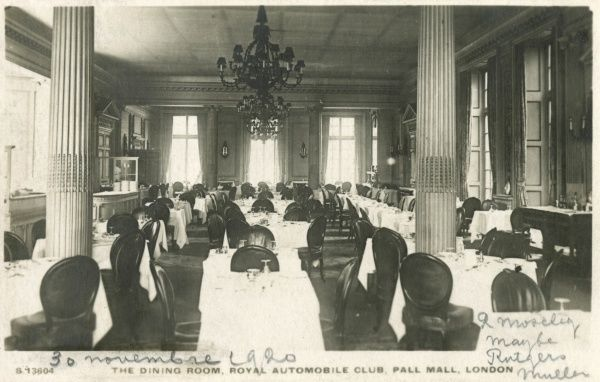 View of the Dining Room of the Royal Automobile Club, Pall Mall, London. The club was founded in 1897. Date: 1920