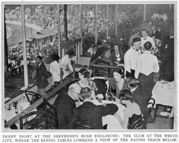 Derby night at the Shepherd's Bush enclosure; the club at White City where dining tables command a view of the greyhound racing track below