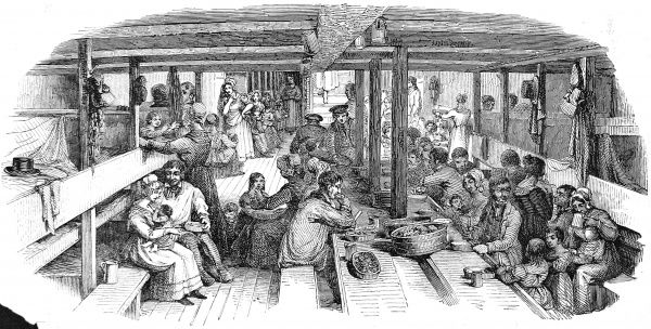 Engraving showing life below decks on board an emigrant ship heading from Britain to Australia, 1844. The image shows the sleeping, eating and living area for the emigrant families