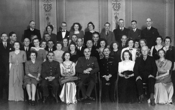 Staff of Fulford Barracks, CRE Preston, Lancashire, with guests, at a dinner dance. Date: 1946