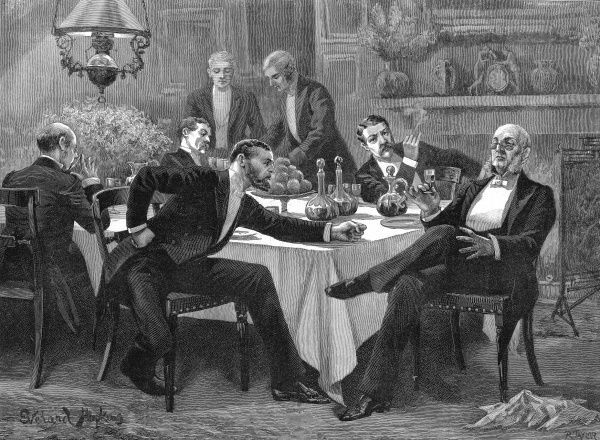 Engraving showing a group of gentlemen, in formal evening attire, enjoying an after dinner smoke, drink and argument about politics
