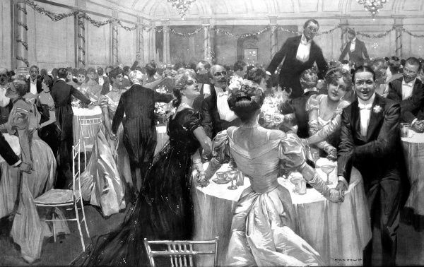 Illustration showing some of the thousand guests who had supper at the Savoy Hotel on New Year's Eve, 1907, and sang 'Auld Lang Syne' to see in the New Year. The wealth of the guests is evident from their dinner jackets, monocles