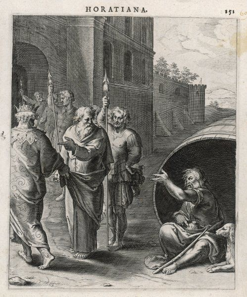 Alexander asks Diogenes if he can do anything for him ? Yes, says the philosopher, you can move so you're not keeping the sun off me