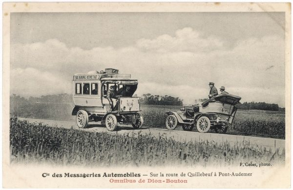 A Dion-Bouton omnibus passes a motor car on a country road near Le Havre, between Quilleboeuf and Port-Audener