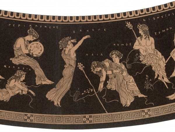 ANCIENT GREECE A female dancer collapses during an ecstatic dance in honour of Dionysos