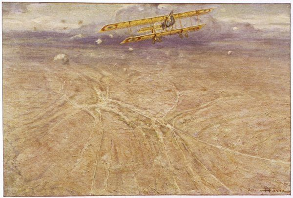 A French Farman F-40 comes under German fire as it directs artillery fire over Avocourt on the Western Front; this is a valuable but dangerous duty