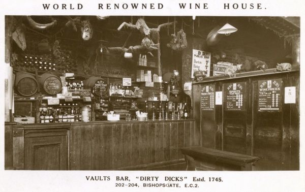 The World Renowned Wine House, Vaults Bar at Dirty Dicks in Bishopsgate, London, established in 1745