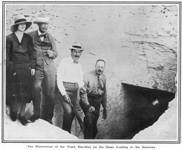Standing on the steps leading to the doorway of Tutankhamen's tomb are (from left to right) Lady Evelyn Herbert, her father Lord Carnarvon, Mr Howard Carter and Mr B. Callender (Carter's principal assistant)
