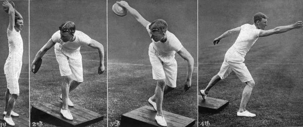 Classic Games at Shepherd's Bush - Four positions in throwing the discus. Series of four photographs showing the positions adopted while throwing the discus, one of the ancient Greek sports to be included in the London Olympic Games in 1908
