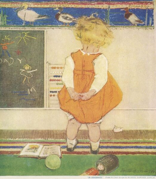 A small blonde child is made to stand facing the wall in disgrace after some apparent misdemeanour in the nursery or school room