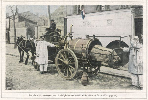 DISINFECTING A HOME Infected bedlinen is fumigated in a horse-drawn portable 'Stove' to destroy germs of tuberculosis or cholera