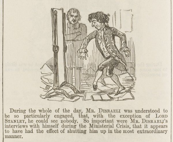 BENJAMIN DISRAELI Mr. Disraeli's interviews with himself following the Ministerial Crisis of 1851 (Cartoon 4 of 4)