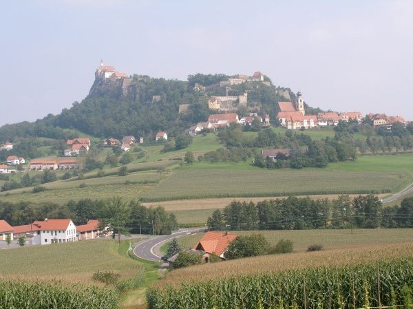 Distant view of the the ancient castle and town of Riegersburg in the state of Styria (Steiermark), south east Austria. The castle was built in the early 12th century