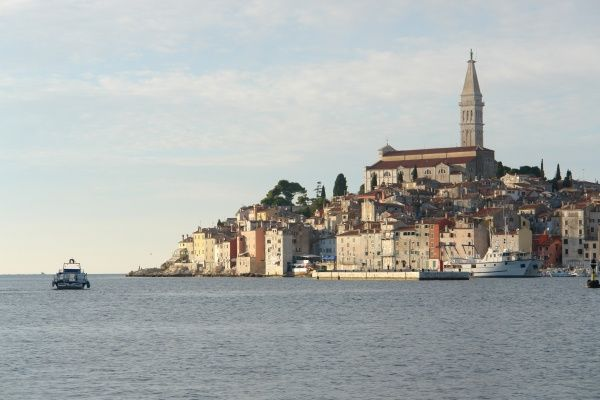 A distant view of Rovinj, on the western coast of Istria, Croatia, with the parish church of St Eufemia on the hill