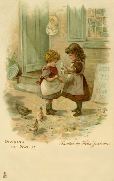 Genre painting two young Victorian children Date: circa 1905