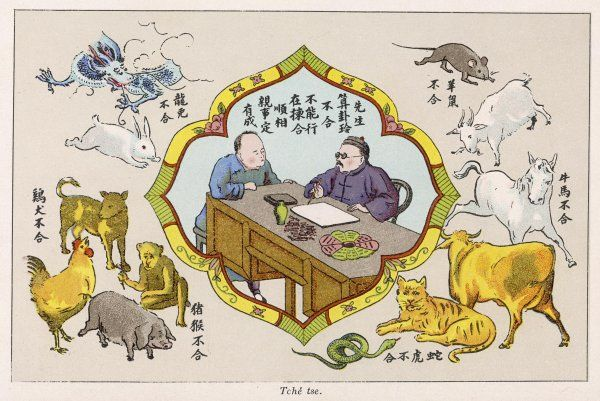 A Chinese fortune teller uses the TCHE' TSE method of divining from characters