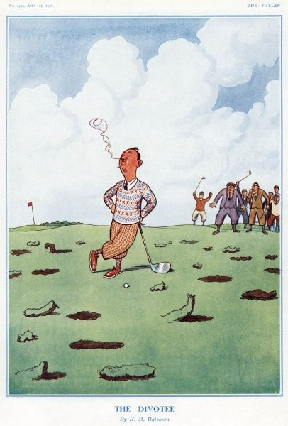 Humorous illustration showing the results after a rather untalented golfer has tried to tee off