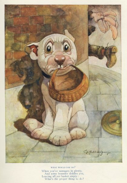 Bonzo, the cute canine created by George Studdy in The Sketch magazine in the 1920s, wonders what to do now that some heinous thief has stolen his sausages from under his nose