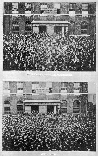 "Top picture: 'Those who agree to this resolution hold up their hands."" Bottom picture: 'On the contrary."" A unanimous vote to strike at a meeting of dock workers outside the west India dock gates, 1889"