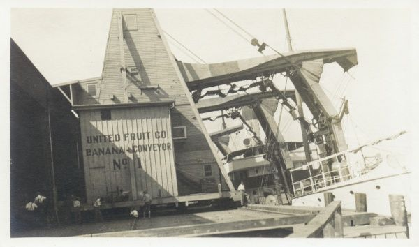 A dockside conveying facility for loading bananas, with the name of the United Fruit Co. painted on its side