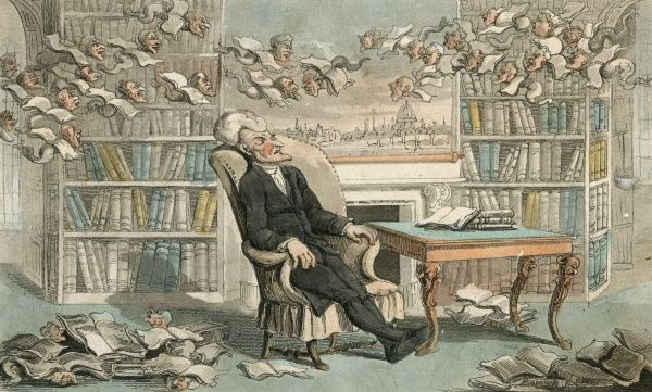 Having fallen asleep in a room lined with books, Dr Syntax dreams that the books have grown wings and heads of various acquaintances and are flying around above him. Date: 1813