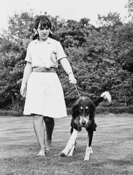 This dog, here with his nurse, broke his leg and the broken bones were mended with the aid of a metal pin. When the bandages come off he will be able to use his leg as before. Date: late 1960s