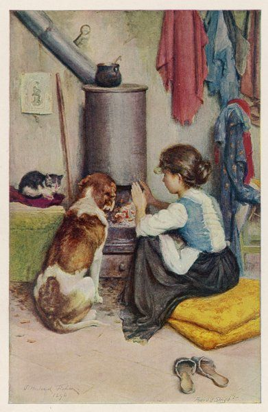 A girl, a large dog and a small cat sit warming themselves at an open stove