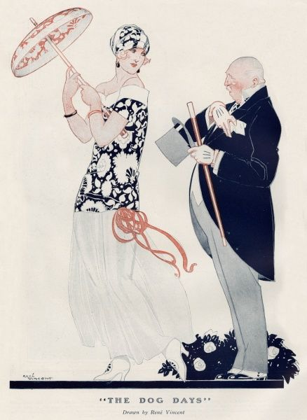 'The Dog Days' A Fashionable Older man in formal evening dress and stylish woman in lightweight attire exchange greetings on a boiling hot summer's day. Date: 1923