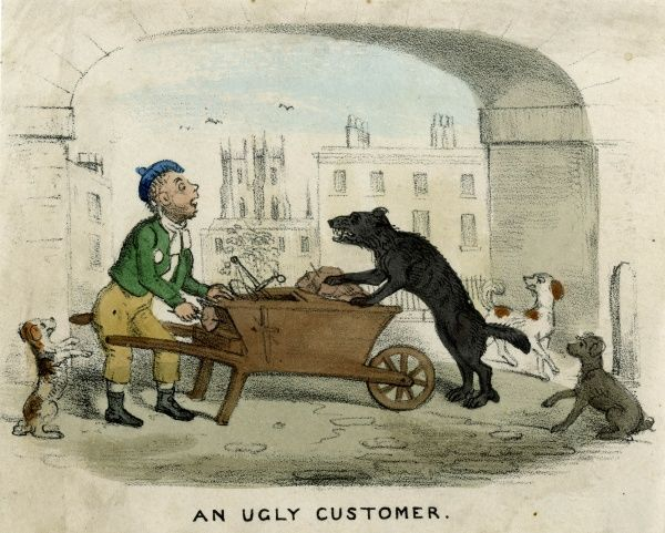 The dog's-meat man is confronted by a demanding client ! Date: 1835