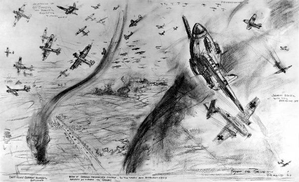 Drawing showing an air-battle between Royal Air Force Hawker 'Hurricane' fighters and German Junkers and Dorniers bombers and Messerschmitt fighters over France in May 1940