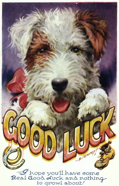 'Good luck' card featuring a dog. Date: posted in 1946