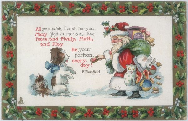A puppy greets Santa Claus who hasn't forgotten to bring him a present too !