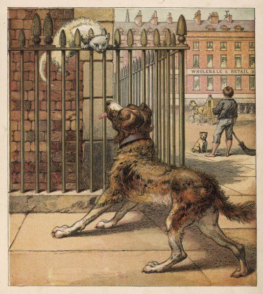 A cat, perched on the railings of a London square, glares at a dog, while a barefoot crossing-sweeper turns his back on the pair of them