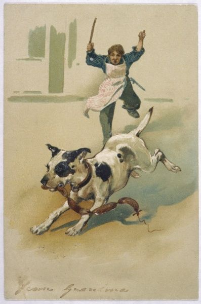 A dog runs off with a string of sausages with the butcher boy in pursuit