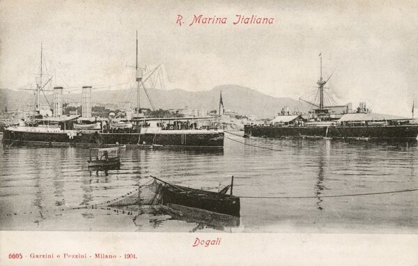 Dogali, Italy - Italian naval vessels in dock Date: circa 1910s