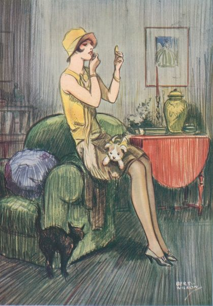 Colour illustration by Bert Wilson showing a 1920s flapper girl powdering her nose. Her compact has come from a small bag in the shape of her dog, which appears to have alarmed her pet cat