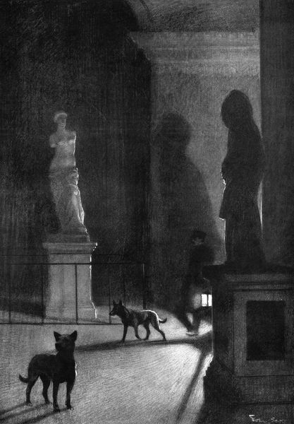 Guard dogs patrolling the galleries of the Louvre Museum in Paris at night in 1911. Following the theft of La Giaconda (better known as the Mona Lisa) by Leonardo da Vinci from the gallery, security was heightened. Date: 1911