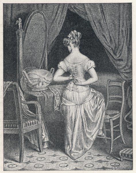 A lady laces up her corset at the back