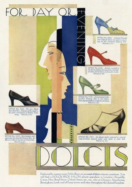 Advertisement for Dolcis high heel shoes. 1930