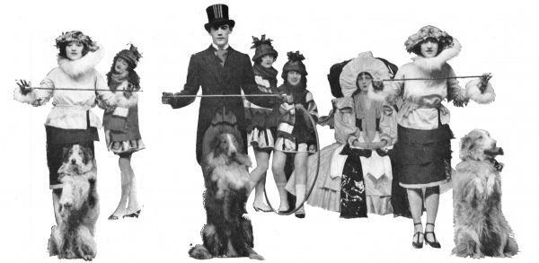 The Dolly Sisters wearing Max Weldy costumes in the Dollies and the Collies number in League of Notions, London, 1921