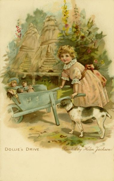 Dollie's Drive -- a little girl takes her doll for a ride in a wheelbarrow
