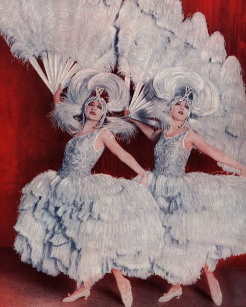 The Dolly Sisters in their feather creations by Patou, Oh Les Belles Filles, Palace Theatre, Paris, 1923